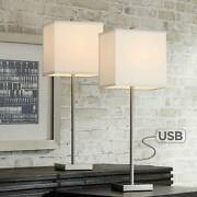 Modern Table Lamps Set Of 2 With Usb Nickel Square Shade For Living Room Bedroom
