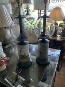 The Hunt With Hounds Pair Of Table Lamps