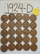 1924-d Cent Half Roll Solid Date =25 Lincoln Wheat Pennies 8 Items Ship Free