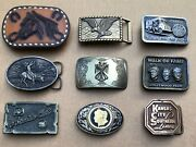 9 Belt Buckle Lot Metal And Leather Horse/eagle/native Americanmac Tools Western