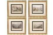 Antique 1837 Hand Colored Engravings - Set Of 4