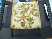Colonial Style Wood Footstool With Hand-stitched Flower Upholstery Vintage