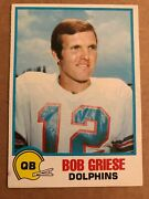Bob Griese 1978 Topps Holsum Bread 16 - Rare - Miami Dolphins Great Nfl