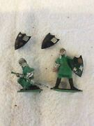 10 Marx Knights And Horse And 3 Shields For Standard Scale Model Train Vintage