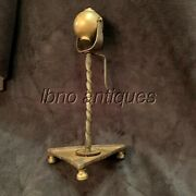 Rare 18th Century Swiss Oil Lamp. Brass And Hand Wrought Iron Complete. L@@k