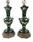 Pair Mid Century Emerald Green Gold Gilt Floral Venetian Glass Urn Vintage Lamps