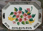 Vintage Floral Tole Tray Pink Ivory Hand Painted Approx. 18x13