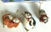 The Stone Bunny Inc Telle M. Stein 2004 Christmas Cat Ornaments Set Of 3