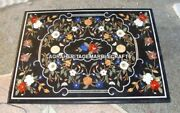 Marble Black Dining Table Inlay Floral Living Room Marquetry Outdoor Decor H3150