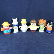 Fisher-price Little People Lot Of 6 Figures Princess Cow Farmer Girl Boy