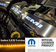 Polished Fuel Rail Covers W/ Amber Led Inlay For 2011-2014 Srt8 6.4l 392 Engines