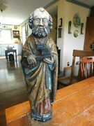 17th Century Hand Carved Wood Wooden Statue St Peter W/ Original Paint-germany