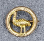 Women Antique Emu Brooch In 9ct Gold Australian Post Federation Era Collectable