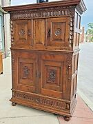 Tudor Oak Arts And Crafts William And Mary Floral Antique 4 Door Cupboard Cabinet