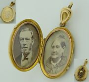 Vintage Victorian 1881 9k Gold With Pictures Locket Pendant