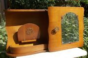 Beautiful Art Deco Kitchen Apothecary Medicine Wall Bathroom Cabinet Wood Etched
