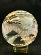 Large Vintage Etched Dragon Clear Glass Asian Globe Ball Paperweight