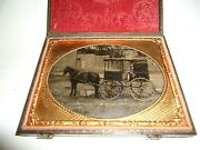 1/4 P.tintype Outdoor Occupational J.a. Brigham 50 Horse Drawn Delivery Wagon.