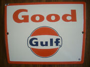 Vintage Original 1960and039s Gulf Good Pump Plate Single Sided Porcelain Sign