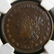 Usa 1837 Ht-47 Liberty Not One Cent Low-32 Hard Times Token Ngc Au 58 Bn