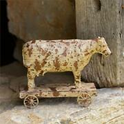 New Primitive Country Farmhouse Distressed Resin Cow On Wheels Figurine