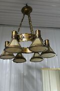 Heavy Large Arts And Crafts Hanging Light Fixture Slag Glass Shade Copper Hammered