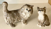 """2 Vintage Beswick England Persian Cat Figurines 6"""" Standing And Sitting Kitten€"""