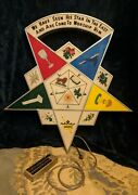 Masonic Order Of The Eastern Star Lodge Sign With Painted Symbols And Lights