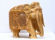 18 Large Unique Elephant Figurine Statue And Baby In Tummy Hand Carved Wooden