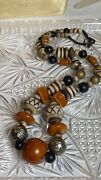 Vtg Old Butterscotch Amber Beaded Necklace Moroccan Trading Beads