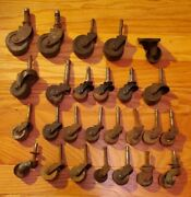 Lot Of 26 Antique Wood And Iron Casters Wheels Rollers -- Furniture Restoration