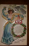 Circa 1910 Winsch Back Lovely Lady Toasting New Years Silver Bells Embossed