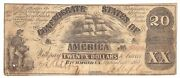 1861 Confederate 20 Bill Dated September 2 T-18 Typical Used Condition