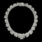 925 Sterling Silver White Marquise And Round Cluster Handmade Necklace Women