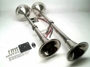 Pactrade Marine Boat Rv Car Stainless Steel Dual Trumpet Horn Complete Set 12v