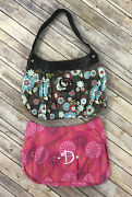 Thirty-one Suite 2 Skirt Purse Brown Floral Skirt And D Monogram Retired Pattern
