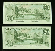 Canada 20 1979, Consecutive Serial Numbers, Unc