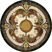 50 Inches Marble Restaurant Table Top Black Lawn Table Top With Pietra Dura Art
