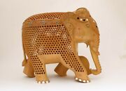 10 Large Handmade Elephant Figurine Statue And Baby In Tummy Hand Carved Wooden