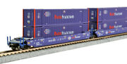 Kato N Scale Maxi-iv 3 Well Car Set W/6 Pacer Containers Bran 6020 1066179