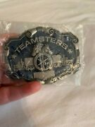 Teamsters Belt Buckle Drk Blue W/grey 2.5 Trucks And 2 Horse Heads New Rare Usa