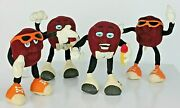 Set Of 4 California Raisins Soft Bendable 5 Figures Hardees 1988 By Applause.