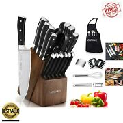 Knife Set 22-piece Kitchen Knife Set With Block Wooden German Stainless Steel