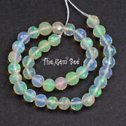 4mm-4.3mm Fine Ethiopian Crystal Opal Faceted Round Sphere Beads 6 Inch Strand