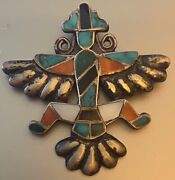 Zuni Attr. Horace Iule Early Cast Knifewing Pin Inlaid Turquoise,red Abalone