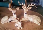 1984-85 Homco 3 Deer Family At Rest Figure Figurines Statues Resin