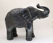 11 Large Handmade Silver Coated Elephant Figurine Statue Wooden Home Decoration