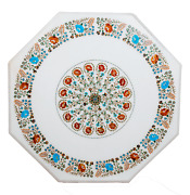 36 Inches White Marble Conference Table Top Octagon Lawn Table Pietra Dura Art