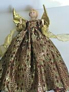 Vintage Angel Christmas Tree Topper Ceramic Head And Arms- 14.5 Tall