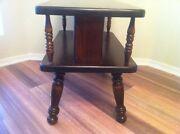 Ethan Allen Old Tavern Colonial Dark Antique Pine 2 Tier End Table Spindle Legs